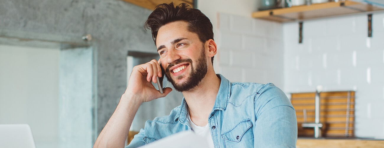 a young man on a phone