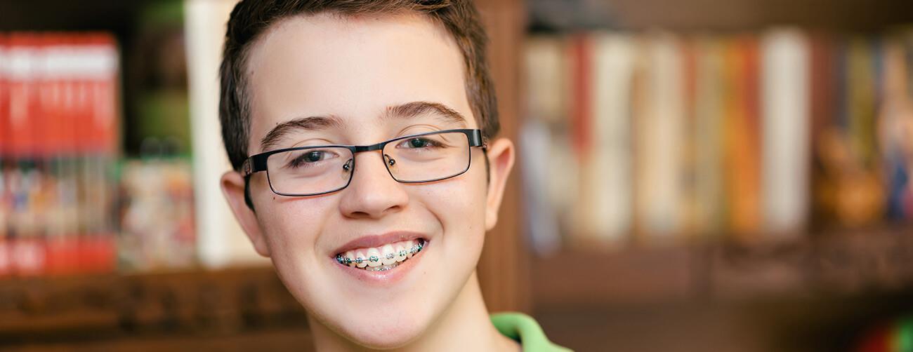 a boy with braces