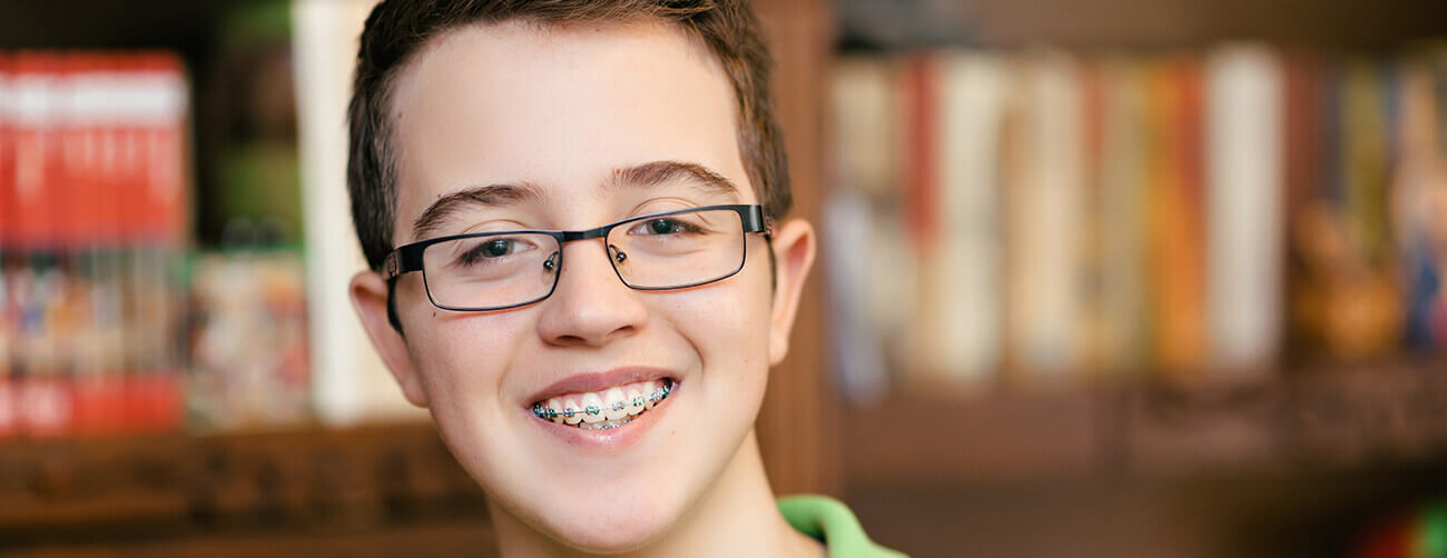 a boy with braces